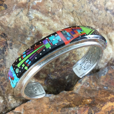 Fancy Inlay Sterling Silver Cuff Bracelet by Sylvana Apache