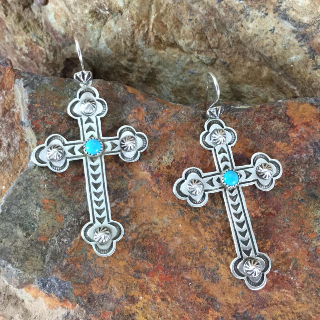 Traditional navajo jewelry mutli color jewelry turquoise jewelry traditional sterling silver turquoise cross earrings by k nataani buycottarizona Images