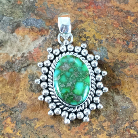 Sonoran Gold Turquoise Sterling Silver Pendant by Artie Yellowhorse