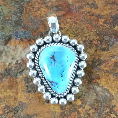 Golden Hill Turquoise Sterling Silver Pendant by Artie Yellowhorse