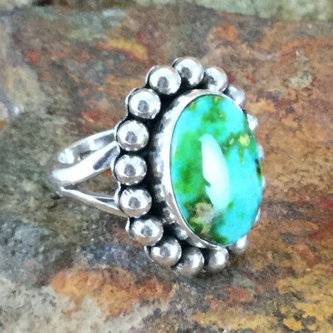 Sonoran Gold Turquoise Sterling Silver Ring by Artie Yelowhorse Size 6.5
