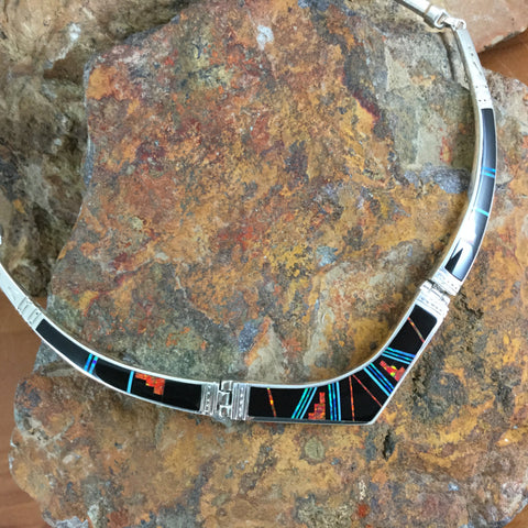 David Rosales Red Moon Inlaid Sterling Silver Necklace