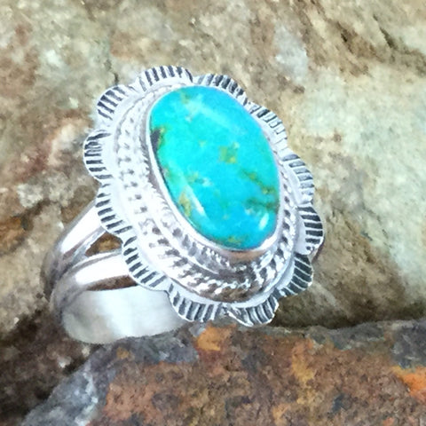 Sonoran Gold Turquoise Sterling Silver Ring Size 7
