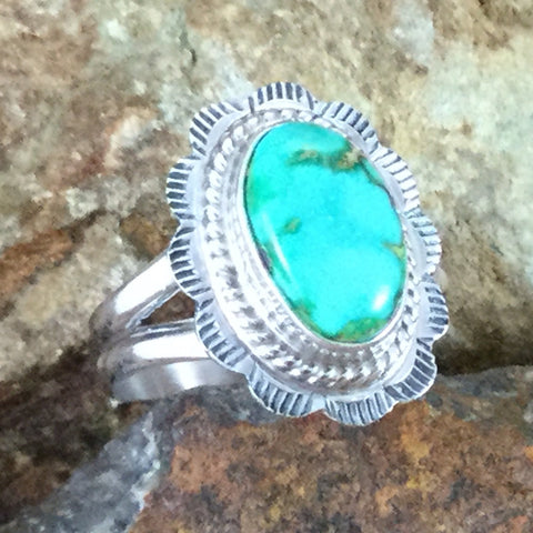 Sonoran Gold Turquoise Sterling Silver Ring Size 7.5