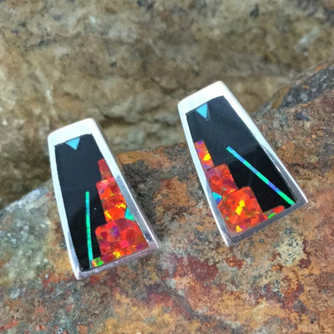 David Rosales Red Moon Fancy Inlaid Sterling Silver Earrings