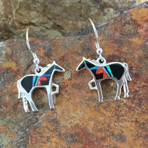 David Rosales Red Moon Fancy Inlaid Sterling Silver Earrings Horse