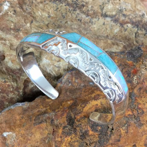 David Rosales Inlaid Sterling Silver Bracelet