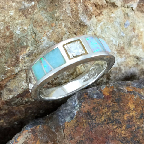 Amazing Light Inlaid Sterling Silver Ring