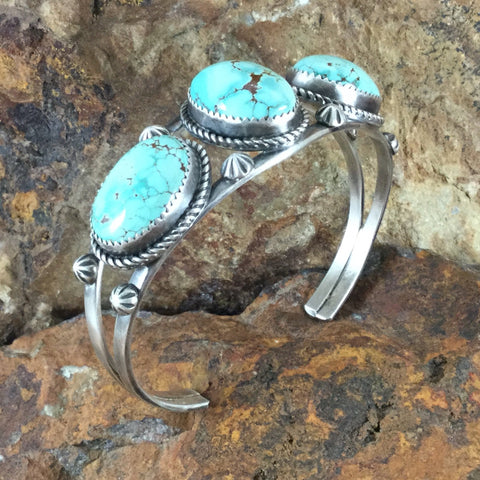 Dry Creek Turquoise Multi Stone Sterling Silver Bracelet by Mary Tso