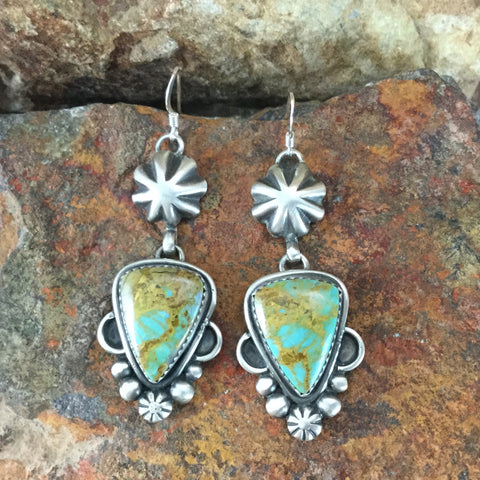 Royston Turquoise Sterling Silver Earrings by Mary Tso