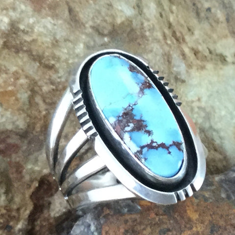 Golden Hill Turquoise Sterling Silver Ring by Wil Denetdale Size 8.5