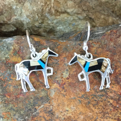 David Rosales Turquoise Creek Inlaid Sterling Silver Earrings Horse