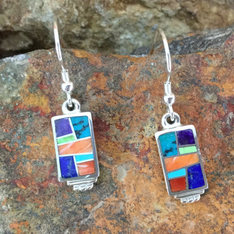 David Rosales Indian Summer Inlaid Sterling Silver Earrings