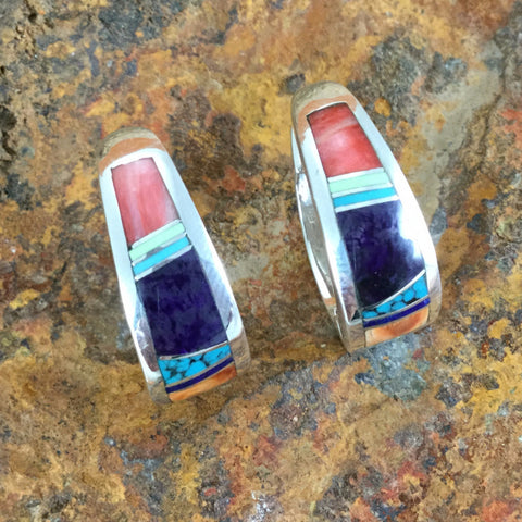 David Rosales Indian Summer Inlaid Sterling Silver Earrings Huggie