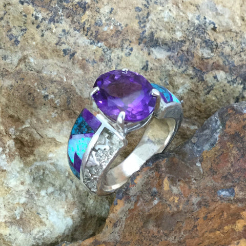 David Rosales Shalako Fancy Inlaid Sterling Silver Ring w/ Amethyst