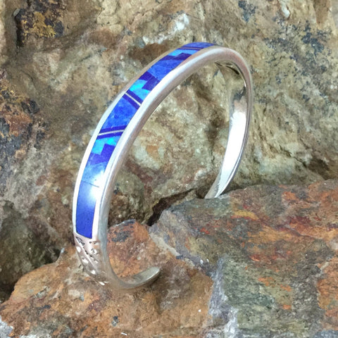 David Rosales Blue Sky Fancy Inlaid Sterling Silver Bracelet