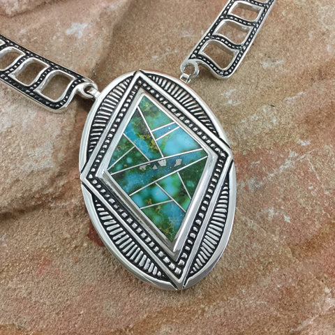 David Rosales Sonoran Gold Inlay Sterling Silver Necklace