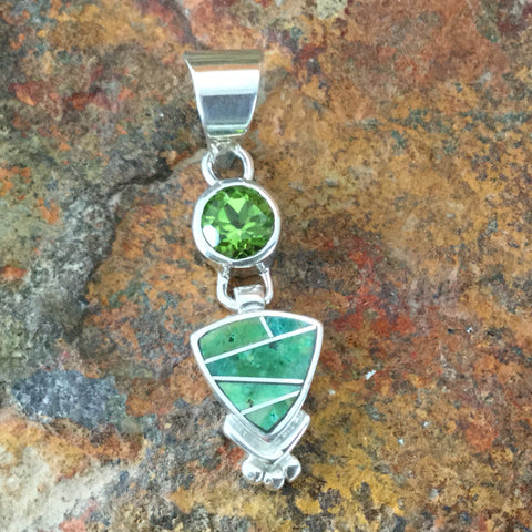 David Rosales Sonoran Gold Turquoise Inlaid Sterling Silver Pendant w/ Peridot