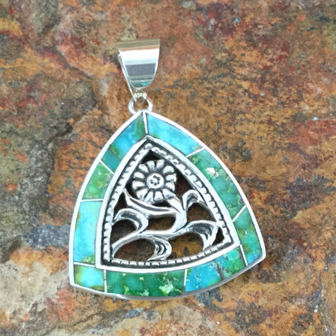 David Rosales Sonoran Gold Turquoise Inlaid Sterling Silver Pendant