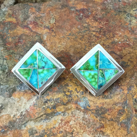 David Rosales Sonoran Gold Turquoise Inlaid Sterling Silver Earrings