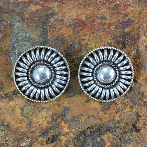 Traditional Sterling Silver Clip Earrings by Tom Charlie