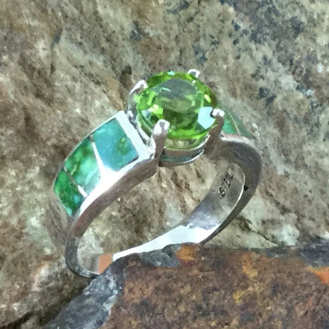 David Rosales Sonoran Gold Inlaid Sterling Silver Ring w/ Peridot