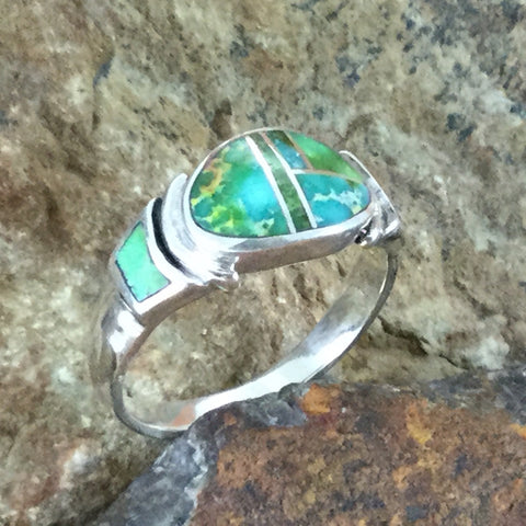 David Rosales Sonoran Gold Inlaid Sterling Silver Ring