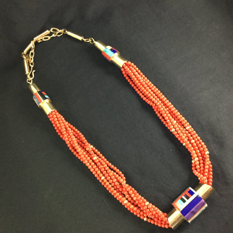 Inlaid 14kt Gold and Multi-Strand Coral Necklace by Vernon Begaye -- Estate Jewelry