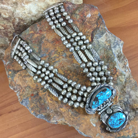 Turquoise Pendant & Silver Beaded Navajo Necklace by Carl Luthy - Estate Jewelry