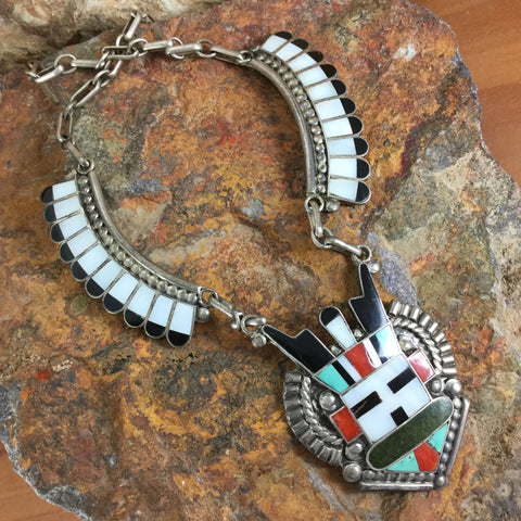 Zuni Inlay Kachina Necklace by Tony & Rita Edaakie - Estate Jewelry