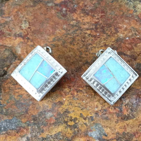 David Rosales Amazing Light Inlaid Sterling Silver Earrings Clip