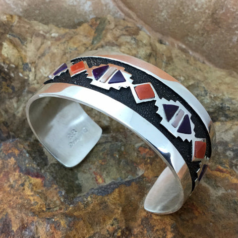 Sterling Silver Bracelet w/ Red Coral, Sugilite & Shell by Philbert Begay