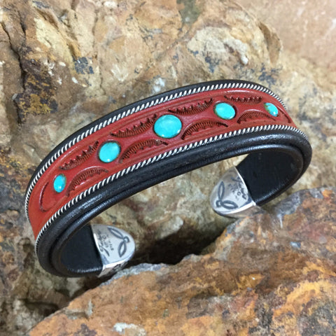 Jerry Tucker Red & Black Leather Cuff w/ Turquoise
