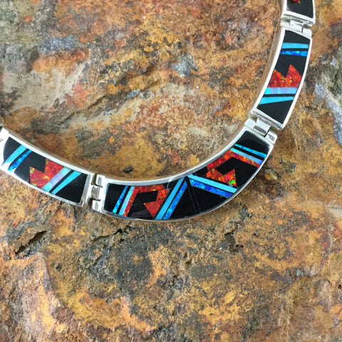 David Rosales Red Moon Fancy Inlay Sterling Silver Necklace