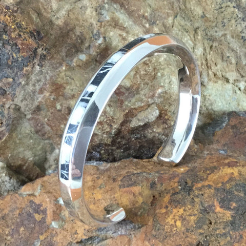 David Rosales White Buffalo Inlaid Sterling Silver Cuff Bracelet