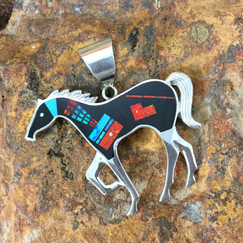 David Rosales Red Moon Fancy Inlaid Sterling Silver Pendant Horse