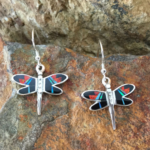 David Rosales Red Moon Inlaid Sterling Silver Earrings Dragonfly