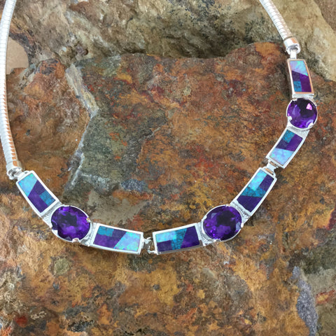 David Rosales Shalako Fancy Inlaid Sterling Silver Necklace w/ Amethyst