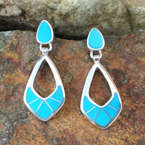David Rosales Arizona Blue Inlaid Sterling Silver Earrings