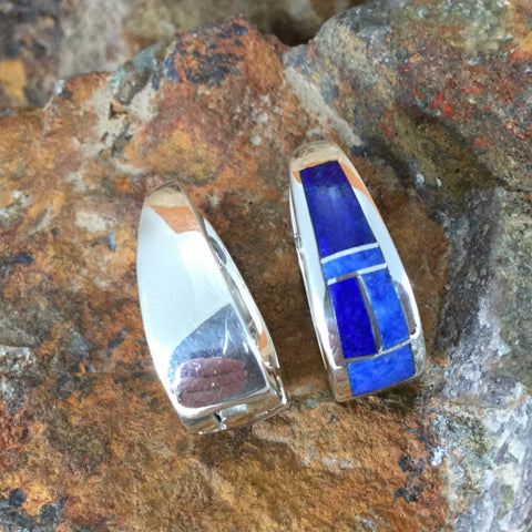 David Rosales Blue Water Inlaid Sterling Silver Earrings Huggie