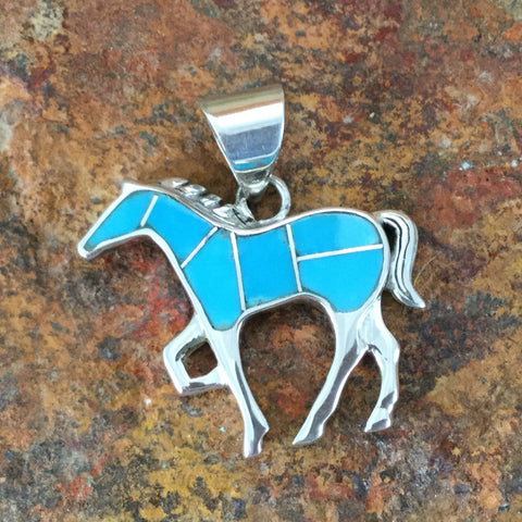 David Rosales Amazing Light Inlaid Sterling Silver Pendant Horse