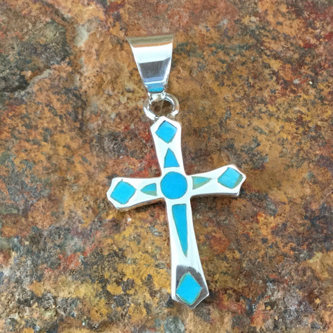 David Rosales Arizona Blue Inlaid Sterling Silver Pendant Cross