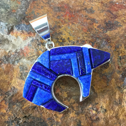 David Rosales Blue Water Cobble Inlaid Sterling Silver Pendant Bear