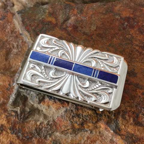 David Rosales Blue Water Inlaid Sterling Silver Money Clip