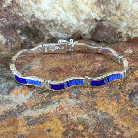 David Rosales Blue Water Inlaid Sterling Silver Wavy Link Bracelet