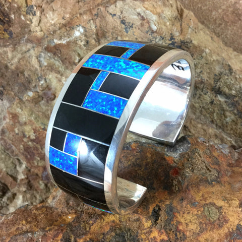 David Rosales Black Beauty Inlaid Sterling Silver Bracelet