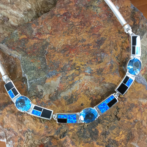 David Rosales Black Beauty Inlaid Sterling Silver Necklace w/ Blue Topaz