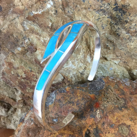 Arizona Blue Inlaid Sterling Silver Bracelet