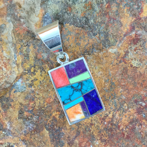 David Rosales Indian Summer Inlaid Sterling Silver Pendant