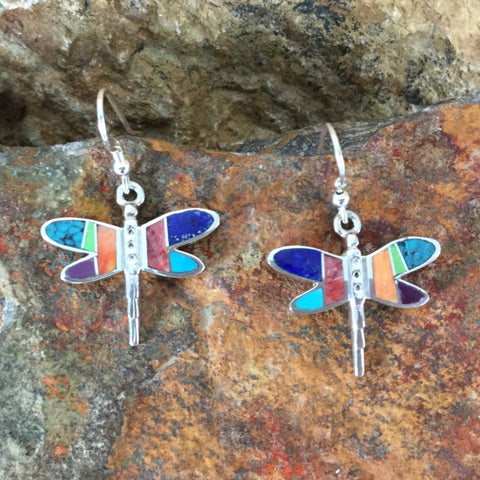 David Rosales Indian Summer Inlaid Sterling Silver Earrings Dragonfly